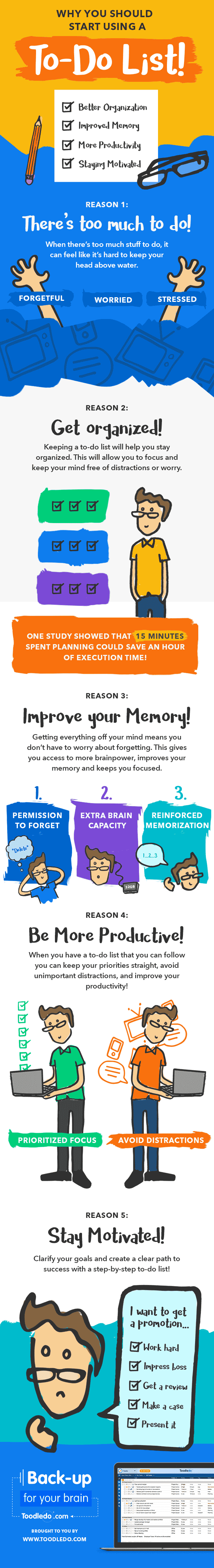 Get organized, improve your memory, increase your productivity and stay motivated. Our infographic explains the 5 reasons you should start using a to-do list today!